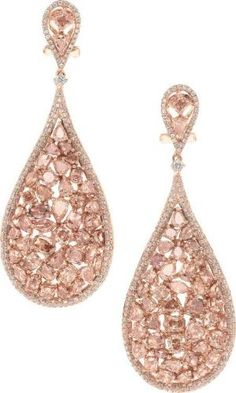 Pink Diamond and Rose Gold Earrings ✿⊱╮ by VoyageVisuel