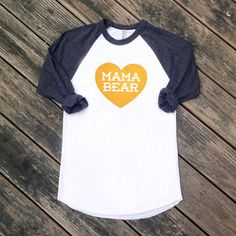 Mama Bear with Heart Women's baseball tshirt by maisonwares, $26.00