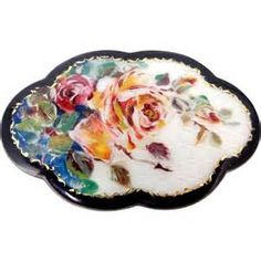 Gustav Gaudernack workshop. Brooch with hand painted rose motif on enameled guilloché gilt silver. - Yahoo Image Search Results