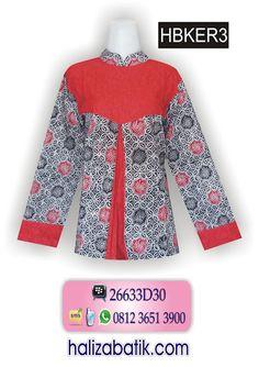 Mode Baju Batik, Busana Batik Modern, Grosir Pakaian Murah, HBKER3, http://grosirbatik-pekalongan.com/blus-hbker3/