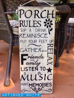 Hand lettered wood signs made just for you. by TheVintageHammer Wood Signs Sayings, Sign Quotes, Wooden Signs, Porch Rules Sign, Front Porch Signs, Patio Signs, Pallet Signs, Porch Decorating, Wood Projects