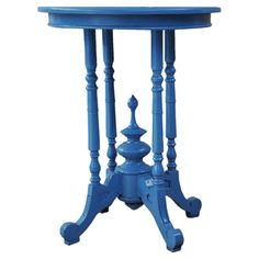 Turned wood end table.   Product: End tableConstruction Material: WoodColor: BlueDimension...