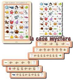 """Voici un jeu de repérage spatial découvert sur Pinterest, via la classe de Francesca . Les enfants ont une planche """" la case mystère"""" ..."""