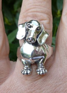 Dachshund Dog Ring--Dog Jewelry-Front End of Dachshund Ring-Animal Jewelry-Canine Jewelry-Dog Lover Jewelry-Sterling Silver Ring