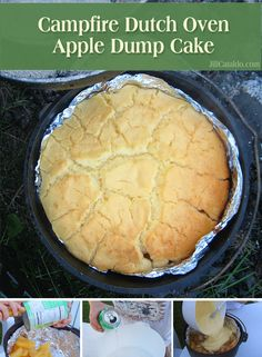 This apple dump cake is SO easy and delicious - our kids make it in the backyard. This apple dump cake is SO easy and delicious - our kids make it in the backyard fire pit even when we& not camping! Dutch Oven Dump Cake Recipe, Dutch Oven Cobbler, Dutch Oven Desserts, Dump Cake Recipes, Camping Desserts, Camping Meals, Camping Tips, Camping Cooking, Camping Stuff