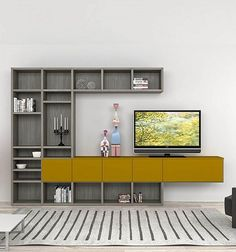 Shelves of different dimensions are very modern and interesting.