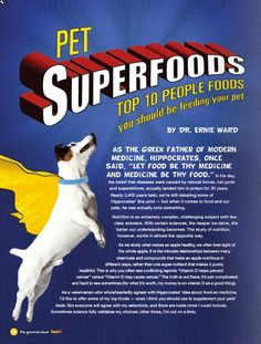 Top 10 people foods you should be feeding your pet, from Petplan pet Insurance Veterinary Advisory Board member Dr. Ernie Ward #pet #food #recipe