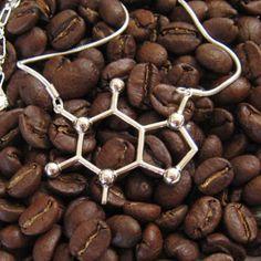 molecular structure of caffeine. A caffeine necklace. yay organic chemistry :)