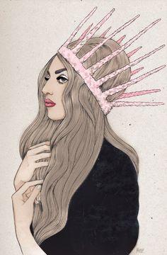 """""""Lady Gaga"""" Art by Helen Green✏ #Celebrity #Celebrities #FanArt"""