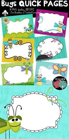 Bugs Quick Pages clipart.  Save time and money this Spring and Summer!!!  Perfect for TpT sellers, classroom teachers and scrapbooking.  TeacherKarma.com