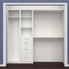SpaceCreations W – W Closet System SpaceCreations W – W Closet System is designed to add great looking organizational opportunities to any room. Classic White combines simplicity and personalization in a laminated solution and Premier Dark Bedroom Closet Design, Master Bedroom Closet, Closet Designs, Bedroom Storage, Small Closet Design, Small Master Closet, Nursery Closet Organization, Bedroom Decor, Wardrobe Design
