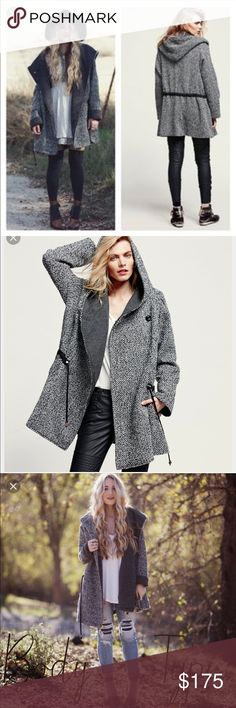 Free People Satellite Image Swing Coat Tweed oversized hooded swing coat with a drawstring waistband. Lined. Button closures and side pockets.  39% Polyester 30% Acrylic 27% Wool 2% Viscose 2% Polyamide Please Note: This style features a dramatic oversized silhouette. Size down for a comfortable fit. Machine Wash Cold Free People Jackets & Coats Trench Coats