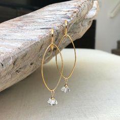 Diamond Earrings, Herkimer Diamond Earrings, Herkimer Diamond Earrings in Gold Silver, Gold or Silver Herkimer Diamond Hoop Earrings