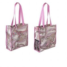 Pink & Tan Paisley Tote Fashionable tote has pink nylon straps with 12-inch arm length, 4 x 4-inch inside zip pocket, 11 x 9-1/2 inch outside zip pocket, 11 x 11 inch outside VELCRO® pocket and 6 x 4 inch black mesh outside side pocket. Matching coin purse has zipper closure and attached loop.