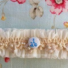 Hand made vintage style Ivory bridal garter 'I do' by judesvintage, £6.99