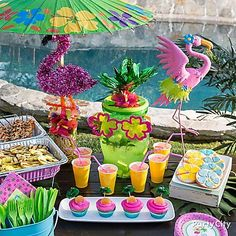Have fun in the sun with yummy treats, cool drinks, & Flamingo inspired decorations!