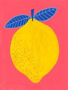 Vibrant Modern Lemon Art Print by blakstudio Fruit Illustration, Graphic Illustration, Painting Inspiration, Art Inspo, Lemon Art, Posca Art, Kunst Poster, Guache, Funky Art