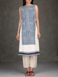 Ivory-Indigo Natural Dyed Ajrakh-Printed Side Tie-Up Waist Layered Cotton Tunic