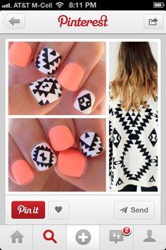 Black and coral nails