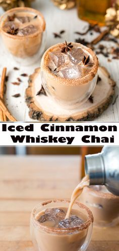 Iced Cinnamon Whiskey Chai - Annette Home Dessert Drinks, Party Drinks, Fun Drinks, Yummy Drinks, Yummy Food, Beverages, Cocktails, Martinis, Healthy Drinks