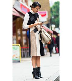 @Who What Wear - Street Style                 Tucked beneath a shift dress, a tissue thin turtleneck will keep you warm, and add a seemingly effortless layer to your outfit.  Stockholm Street Style