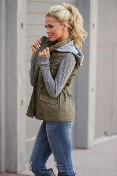I like that this looks like a sweatshirt and a vest in one.