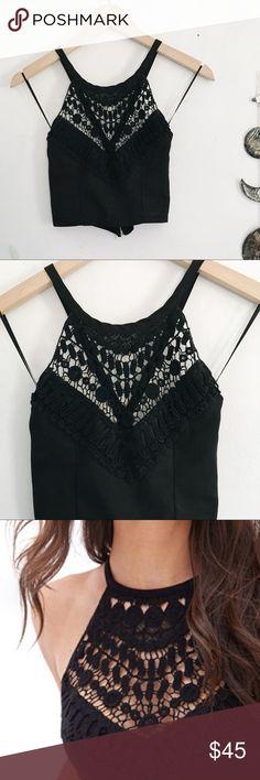 Rumor Crochet Halter Top Crochet detail. Zippered back. Halter Top. Cross back adjustable straps. No signs of wear LF Tops Crop Tops
