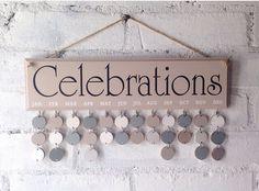Family calendar, Celebrations board, wooden Birthday Organizer. Beige sign, Calendar, gift for mum, Home decor. Gift ideas, by AceSentimentalGifts on Etsy https://www.etsy.com/uk/listing/475203468/family-calendar-celebrations-board