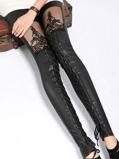 Lace Up Goth Unique Faux Leather Leggings by AntoinettesBoudoir, $35.00