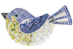 Blue Willow & Primrose Bird SOLD Mosaic Garden Art, Mosaic Tile Art, Mosaic Artwork, Mosaic Crafts, Mosaic Projects, Mosaic Glass, Stained Glass, Mosaic Ideas, Glass Art