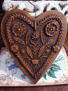 FLOWER GARDEN HEART Blackened Beeswax Wall Art German Springerle Mold Ornament