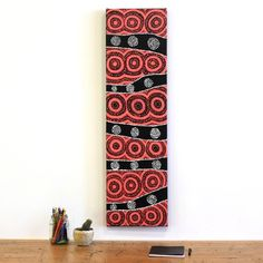Aboriginal Art - Jamie Lee Nampijinpa Brown, Ngapa Jukurrpa (Water Dreaming) - Mikanji, 107x30cm - Art Ark