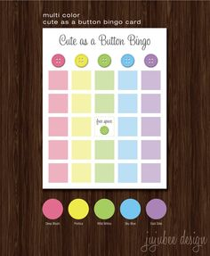 Cute As A Button Baby Shower BINGO Card. $10.00, via Etsy.