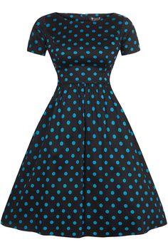 Šaty Lady V London Eloise Black and Teal Polka Retro šaty ve stylu 50. let 9f7e66f808