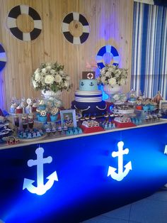 SPACE FESTAS BLOG Baby Shower Deco, Baby Shower Themes, Baby Boy Shower, 65th Birthday, Baby Boy Birthday, Birthday Parties, Baby Showers Marinero, Ideas Decoracion Cumpleaños, Sailor Baby Showers