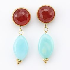 Sargent cornelian and Peruvian opal earrings with 22k gold