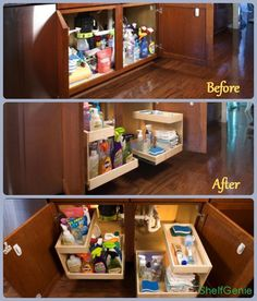 Q: How do you keep the  under your sink neat with limited space due to pipes, garbage disposals and water purifiers?  A: Custom pull out  from ShelfGenie work around the obstacles while maximizing the usable  space, fitting your cabinet to the millimeter. Riser shelves add additional storage, too!
