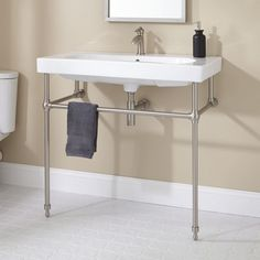 Yaromir Console Sink with Brass Stand