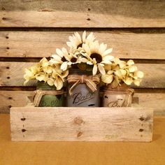 This beautiful set of 3 rustic hand painted and distressed Ball Mason jars in a primitive pallet wood box would make an amazing rustic Mason jar centerpiece or Mason jar canister set for any home! Mason Jar Projects, Mason Jar Crafts, Bottle Crafts, Diy Projects, Pot Mason Diy, Rustic Mason Jars, Mason Jar Kitchen Decor, Ball Mason Jars, Green Mason Jars