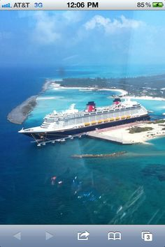 """Disney Cruise Ship at Castaway Cay :: """"The photo was taken by Disney CEO Bob Iger as he was arriving at the island retreat."""""""