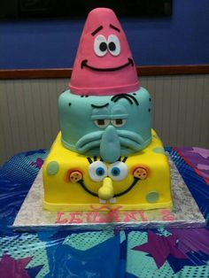 SpongeBob birthday cake. My oldest loves Spongebob
