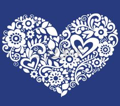 Dessinés à la main fleurs, feuilles, et les remous dans la forme d'un coeur - Illustration sur fond bleu
