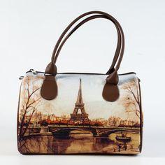 Eiffel Tower Bag Paris Handbag French Purse Brown by MyBrightBag