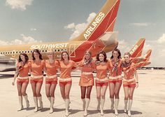 Southwest Airline Flight Attendants in the early Why can't this be our uniform! Retro Airline, Vintage Airline, Vintage Travel, Southwest Airlines Flight Attendant, Aeropostale, Airline Uniforms, Flight Attendant Life, Best Flights, Airline Flights
