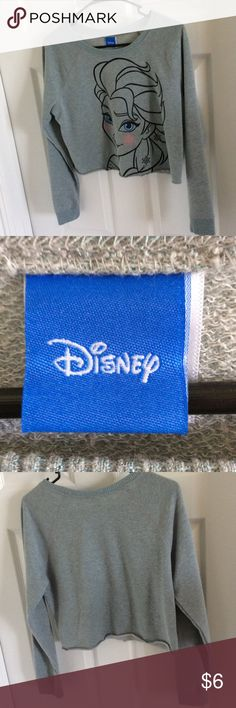Disney Elsa Cropped Sweatshirt Gray with blue glitter Elsa cropped sweatshirt. Raw rolled hem, clean cuffs. M Adult sized Disney Tops Crop Tops