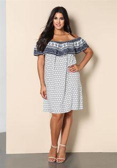 Cute! | Plus Size Printed Off Shoulder Dress