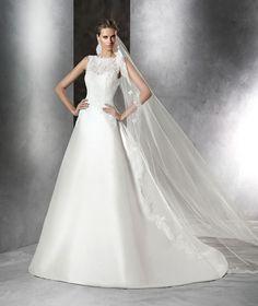 Mikado silk, lace and gemstone dress