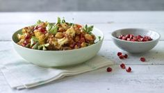 Nigella - BBC - Food - Recipes : Warm spiced cauliflower and chickpea salad with pomegranate seeds