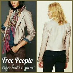 FlashSale! FreePeople quilted vegan leather jacket Vegan/faux leather is so soft! Color is beige, and is a little darker than stock photos. The bottoms of the sleeves are darker than the rest of the jacket (made that way), as shown. Sleeves are quilted.   Minimal signs of wear: slight piling on the inside lining, a few very faint exterior marks. In good condition!   Size 10 but runs small! More like Medium, like 6 or 8 maybe? Bust: 19.5 across Length: 21.5 Sleeve length: 25 Shoulder to…