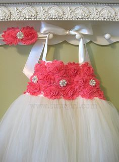 @Brianne Kerber This is Jer''s favorite.  Coral Flower Girl  Dress, Ivory Tutu Dress Coral toddler girls Custom Colors and Sizes - You Design It